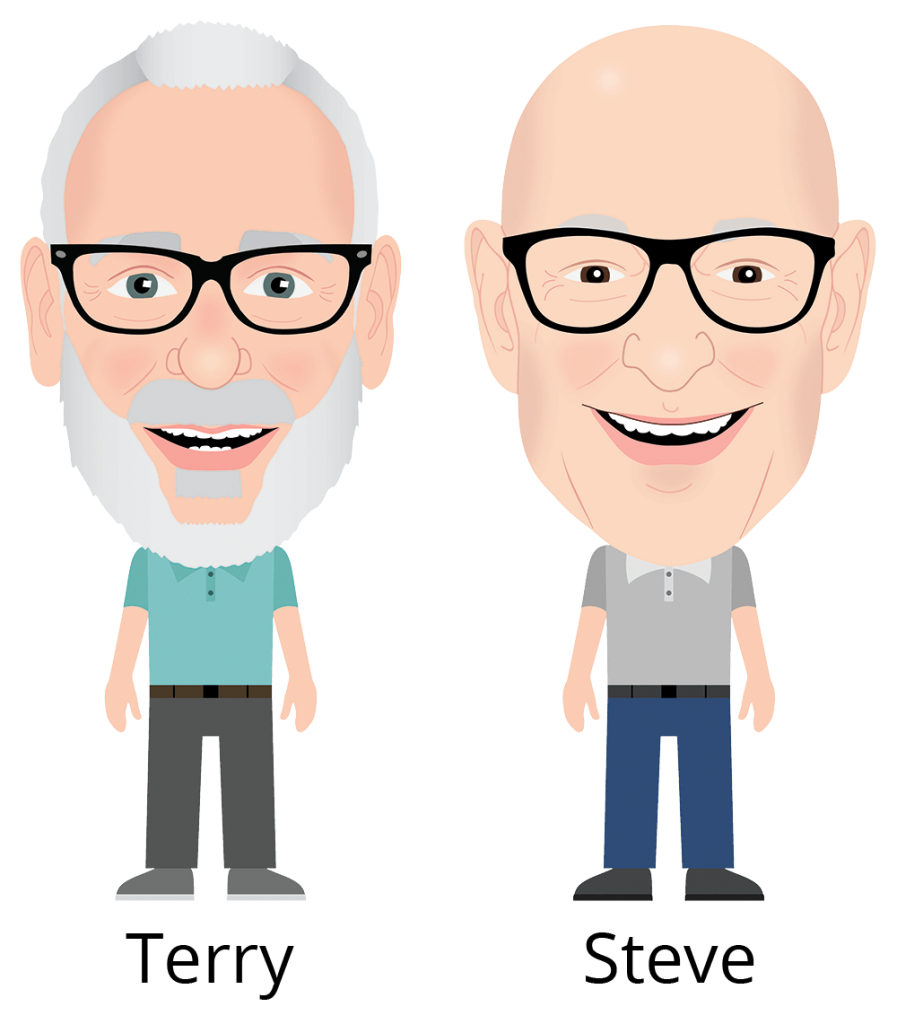 terry and steve caricatures